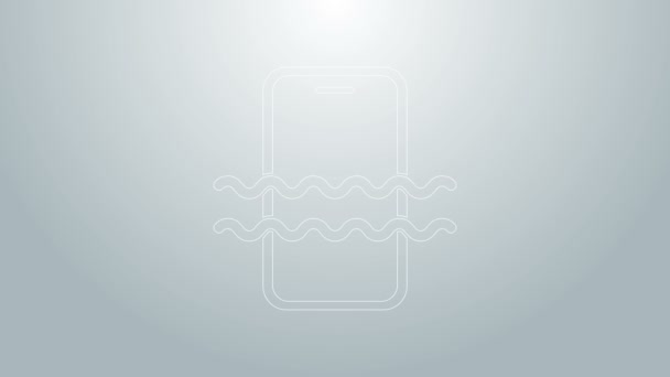 Blue line Waterproof mobile phone icon isolated on grey background. Smartphone with drop of water. 4K Video motion graphic animation