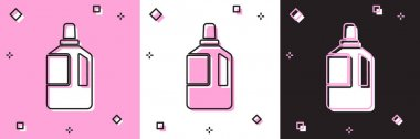 Set Fabric softener icon isolated on pink and white, black background. Liquid laundry detergent, conditioner, cleaning agent, bleach.  Vector Illustration. icon