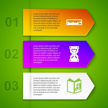 Set line Ruler, Hourglass pixel, Audio book and Pixel arrows in four directions. Business infographic template. Vector.