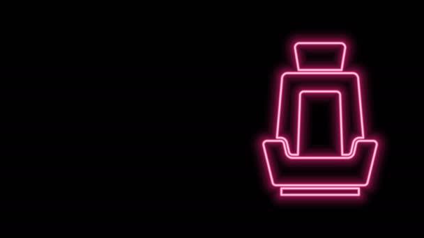 Leuchtende Neon-Linie Autositz-Symbol isoliert auf schwarzem Hintergrund. Auto-Sessel. 4K Video Motion Grafik Animation