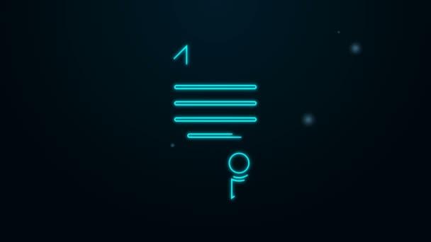 Leuchtende Leuchtschrift House Vertrag Symbol isoliert auf schwarzem Hintergrund. Vertragserstellung, Dokumentenerstellung, Formular-Zusammenstellung. 4K Video Motion Grafik Animation