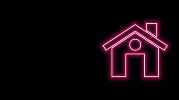 Glowing neon line House icon isolated on black background. Home symbol. 4K Video motion graphic animation