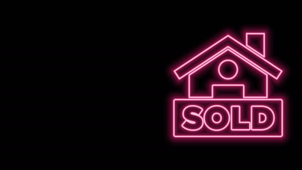Glowing neon line Hanging sign with text Sold icon isolated on black background. Sold sticker. Sold signboard. 4K Video motion graphic animation