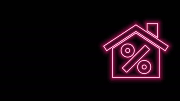 Žhnoucí neonovou linku Dům s výraznou ikonu slevové značky izolované na černém pozadí. Realitní dům. Symbol procenta kreditu. Grafická animace pohybu videa 4K