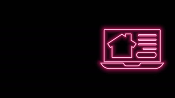 Glowing neon line Online real estate house on laptop icon isolated on black background. Home loan concept, rent, buy, buying a property. 4K Video motion graphic animation
