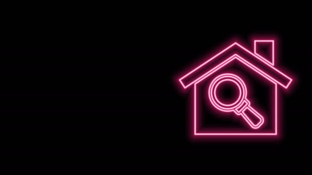 Glowing neon line Search house icon isolated on black background. Real estate symbol of a house under magnifying glass. 4K Video motion graphic animation