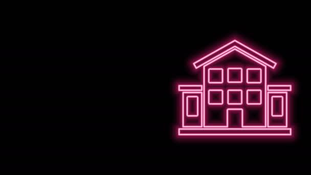 Leuchtende Leuchtschrift House Symbol isoliert auf schwarzem Hintergrund. Heimatsymbol. 4K Video Motion Grafik Animation