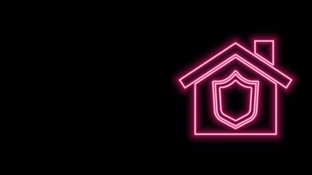 Glowing neon line House with shield icon isolated on black background. Insurance concept. Security, safety, protection, protect concept. 4K Video motion graphic animation