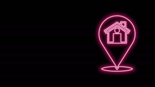 Glowing neon line Map pointer with house icon isolated on black background. Home location marker symbol. 4K Video motion graphic animation