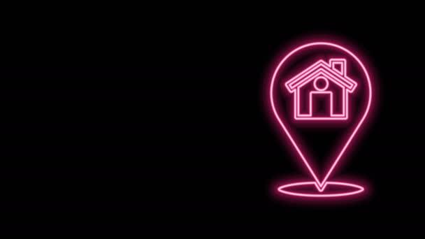 Leuchtender neonfarbener Kartenzeiger mit Haussymbol auf schwarzem Hintergrund. Markierungssymbol für den Wohnort. 4K Video Motion Grafik Animation