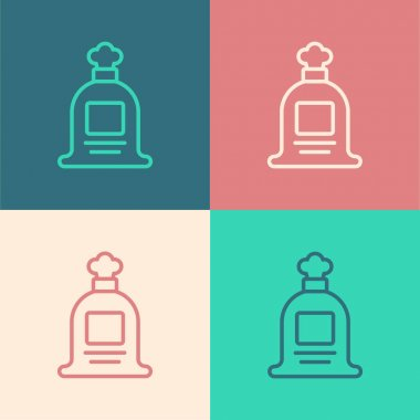 Pop art line Full sack icon isolated on color background.  Vector. icon