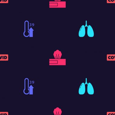 Set Lungs, High human body temperature, Wet wipe pack and Corona virus covid-19 on seamless pattern. Vector. icon