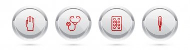 Set line Medical rubber gloves, Stethoscope, Pills in blister pack and thermometer. Silver circle button. Vector. icon