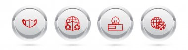 Set line Medical protective mask, Earth with medical, Wet wipe pack and globe virus. Silver circle button. Vector icon