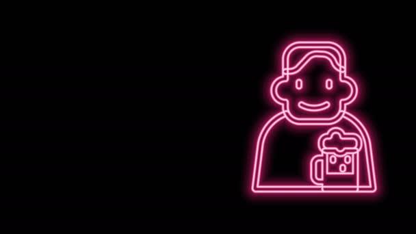 Leuchtende Leuchtschrift Glücklicher Mann mit Bier-Ikone auf schwarzem Hintergrund. 4K Video Motion Grafik Animation