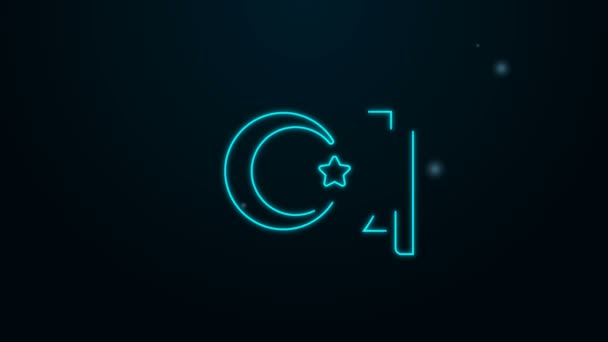 Glowing neon line Star and crescent - symbol of Islam icon isolated on black background. Religion symbol. 4K Video motion graphic animation