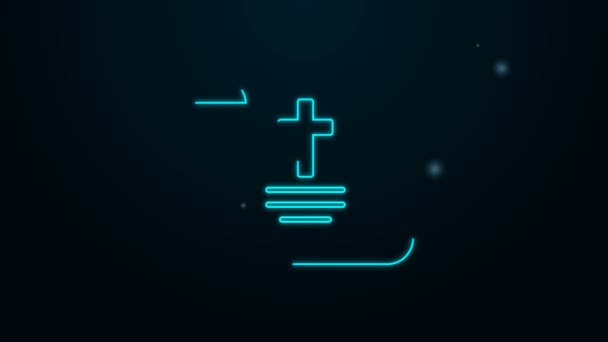 Leuchtende Leuchtschrift Dekret, Papier, Pergament, Scroll-Symbol auf schwarzem Hintergrund isoliert. Chinesische Schriftrolle 4K Video Motion Grafik Animation