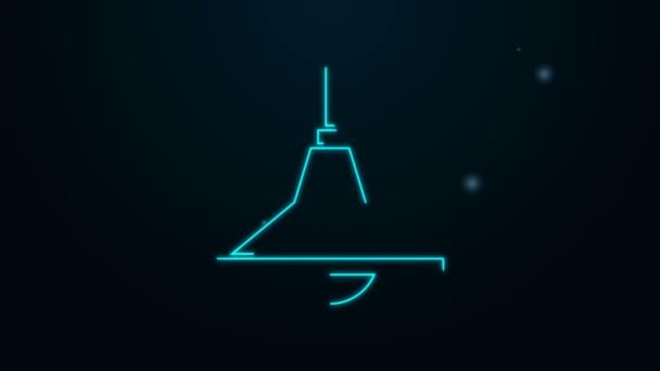 Leuchtende Leuchtschrift Kronleuchter Symbol isoliert auf schwarzem Hintergrund. 4K Video Motion Grafik Animation