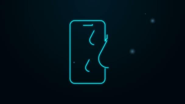 Ragyogó neon vonal Vízálló mobiltelefon ikon elszigetelt fekete alapon. Okostelefon egy csepp vízzel. 4K Videó mozgás grafikus animáció