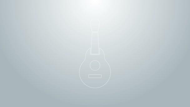 Modrá čára mexické kytara ikona izolované na šedém pozadí. Akustická kytara. Strunový hudební nástroj. Grafická animace pohybu videa 4K