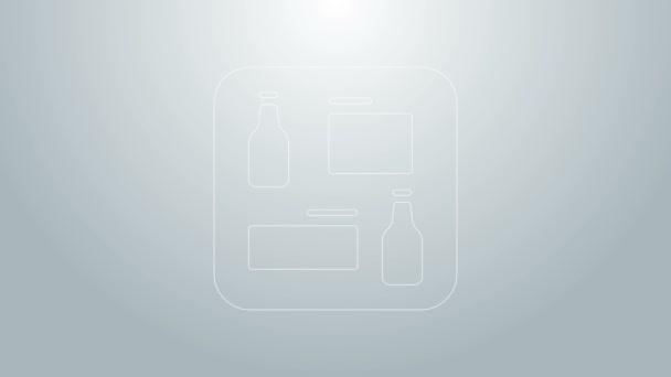 Blaue Linie Bier-Menü-Symbol isoliert auf grauem Hintergrund. Bierrestaurant-Broschüre. 4K Video Motion Grafik Animation