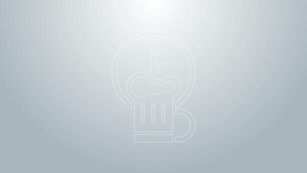 Kék vonal Boldog óra fából készült sörkorsó ikon elszigetelt szürke háttérrel. 4K Videó mozgás grafikus animáció