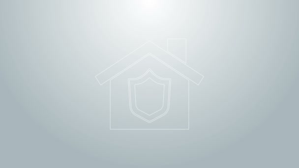 Blue line House with shield icon isolated on grey background. Insurance concept. Security, safety, protection, protect concept. 4K Video motion graphic animation