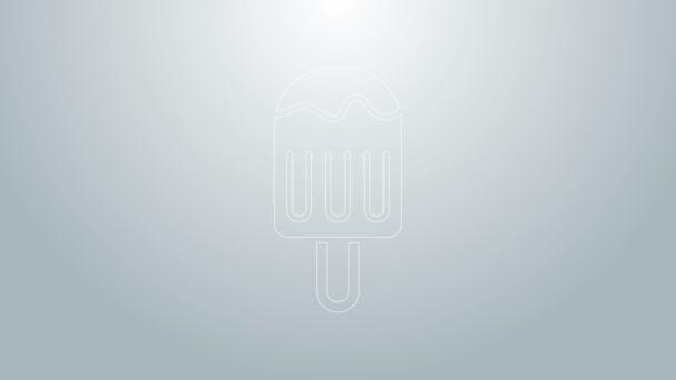 Modrá čára Zmrzlina na tyčce ikony izolované na šedém pozadí. Pěkný symbol. Grafická animace pohybu videa 4K