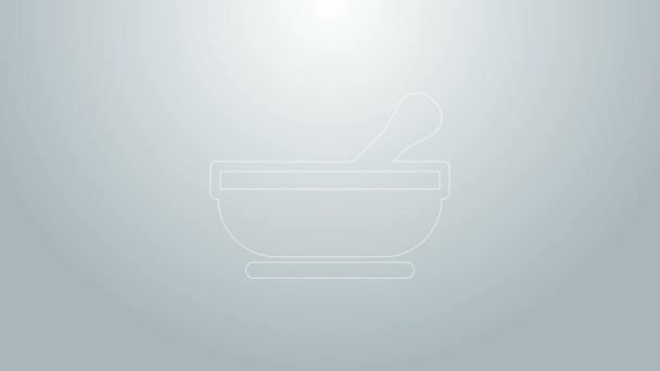 Blue line Mortar and pestle icon isolated on grey background. 4K Video motion graphic animation