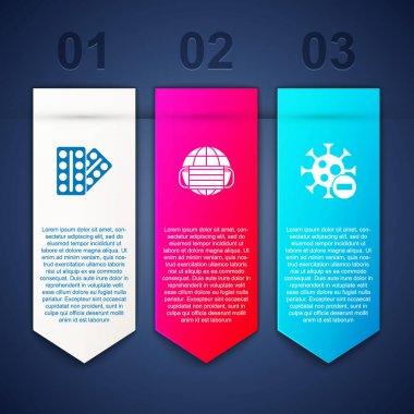 Set Pills in blister pack, Earth with medical mask and Negative virus. Business infographic template. Vector. icon