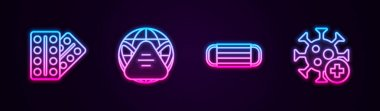 Set line Pills in blister pack, Earth with medical mask, Medical protective and Positive virus. Glowing neon icon. Vector icon