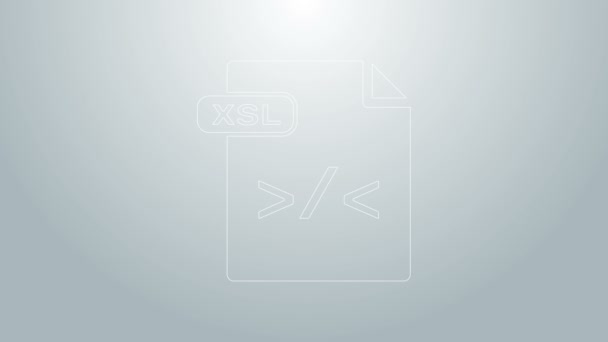 Blue line XSL file document. Download xsl button icon isolated on grey background. Excel file symbol. 4K Video motion graphic animation