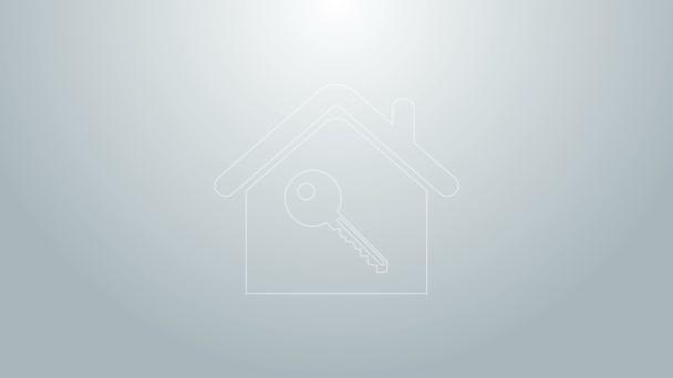 Modrá čára Dům s klíčovou ikonou izolované na šedém pozadí. Koncept domu na klíč. Grafická animace pohybu videa 4K