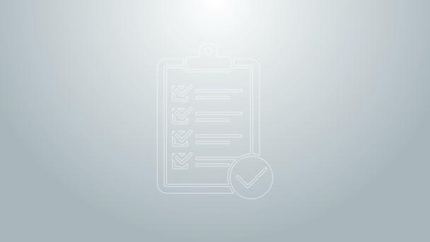 Blaue Linie Überprüfung der Lieferlisten-Zwischenablage und des Stift-Symbols auf grauem Hintergrund. 4K Video Motion Grafik Animation