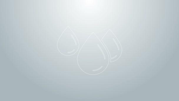 Modrá čára Vodní kapka ikona izolované na šedém pozadí. Grafická animace pohybu videa 4K