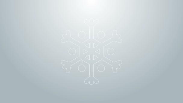 Kék vonal Hópihe ikon elszigetelt szürke alapon. 4K Videó mozgás grafikus animáció
