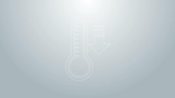 Kék vonal Meteorológiai hőmérő, amely szürke alapon izolált hőt és hideg ikont mér. Hőmérő berendezés, amely meleg vagy hideg időjárást mutat. 4K Videó mozgás grafikus animáció
