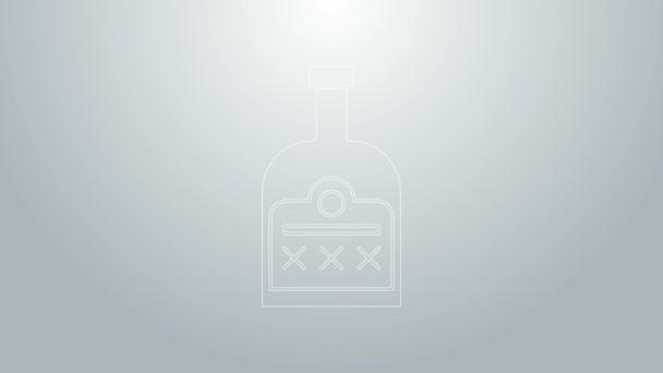 Kék vonal Alkohol ital Rum palack ikon elszigetelt szürke alapon. 4K Videó mozgás grafikus animáció