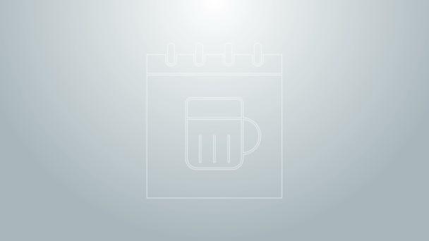 Modrá čára Saint Patricks den s ikonou kalendáře izolované na šedém pozadí. Čtyřlístek jetele. Datum 17. března. Grafická animace pohybu videa 4K