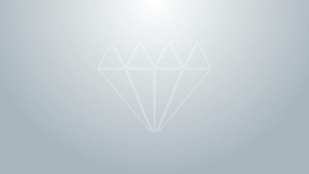 Modrá čára Diamant ikona izolované na šedém pozadí. Symbol šperků. Drahokam. Grafická animace pohybu videa 4K