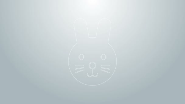 Blue line Rabbit zodiac sign icon isolated on grey background. Astrological horoscope collection. 4K Video motion graphic animation