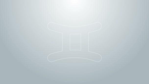 Blaue Linie Zwillinge Tierkreiszeichen Symbol isoliert auf grauem Hintergrund. Astrologische Horoskopsammlung. 4K Video Motion Grafik Animation