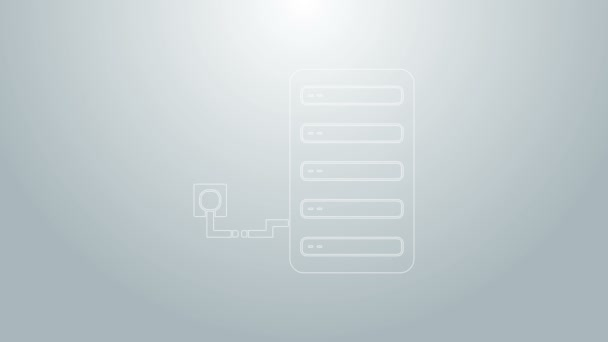Blue line Server icon isolated on grey background. Adjusting app, service concept, setting options, maintenance, repair, fixing. 4K Video motion graphic animation