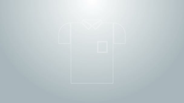 Blue line Polo shirt icon isolated on grey background. 4K Video motion graphic animation