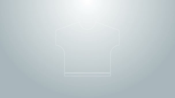 Blue line T-shirt icon isolated on grey background. 4K Video motion graphic animation