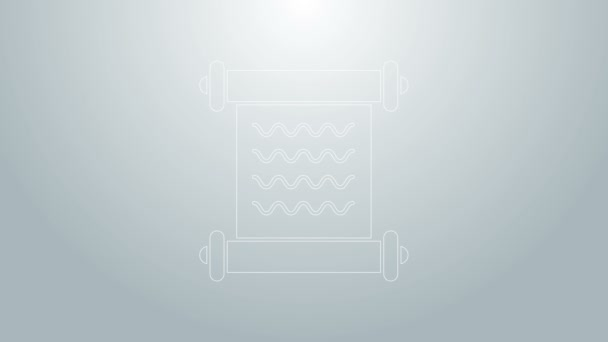 Modrá čára výnos, papír, pergamen, ikona posuvníku izolované na šedém pozadí. Grafická animace pohybu videa 4K