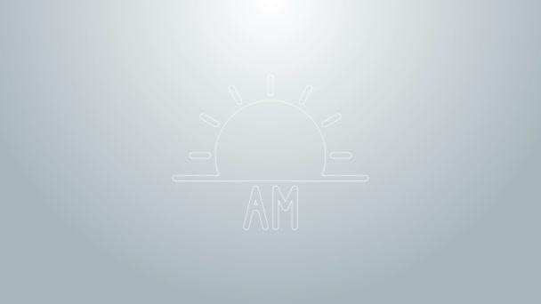 Modrá čára Ikona východu slunce izolovaná na šedém pozadí. Grafická animace pohybu videa 4K