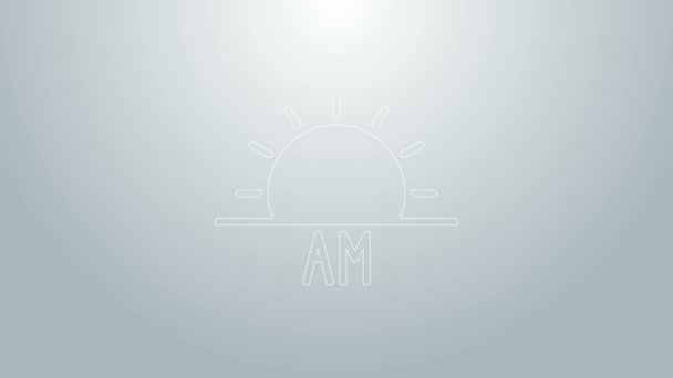 Blue line Sunrise icon isolated on grey background. 4K Video motion graphic animation