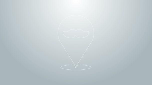 Kék vonal Barbershop ikon elszigetelt szürke háttér. Fodrászlogó vagy cégtábla. 4K Videó mozgás grafikus animáció