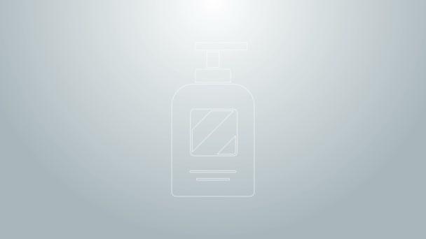 Blue line Bottle of shampoo icon isolated on grey background. 4K Video motion graphic animation